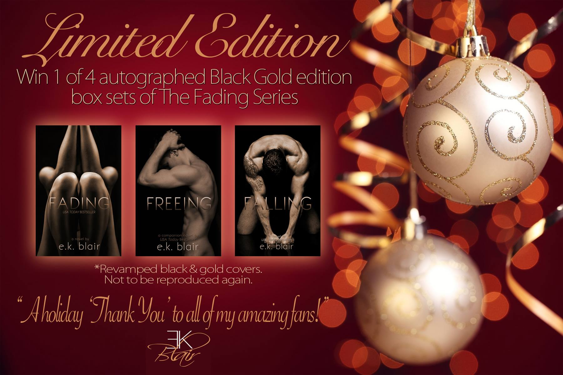 Giveaway- Special Edition Signed Fading Series Set by E.K. Blair